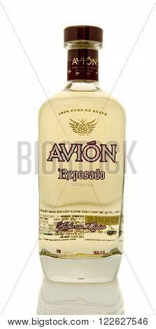 Winneconne WI - 19 March 2016: A bottle of Avion tequila