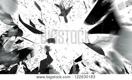 Shattered Pieces Of Glass On White With Motion Blur