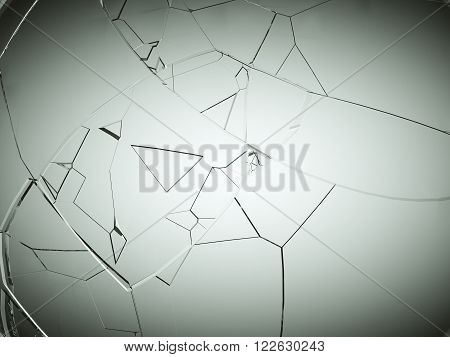 Splitted Or Cracked Glass On Grey