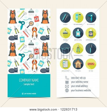 Flyer brochure for pet grooming. Pet care. Set of promotional products. Flat design. Vector illustration
