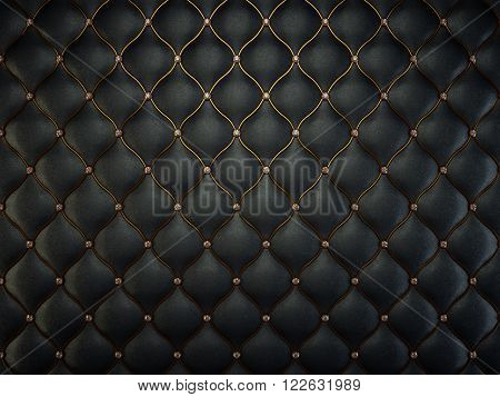 Black Leather Pattern With Golden Wire And Gems