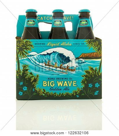 Waupun WI - 9 March 2016: Six pack of Big Wave beer from the Kona brewing company