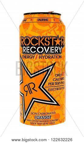 Winneconne WI - 5 June 2015: Can of Rockstar recovery energy drink