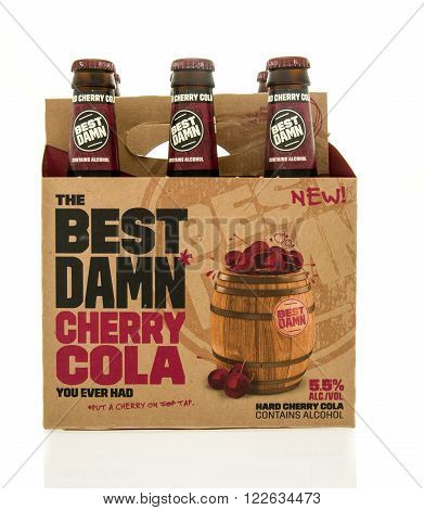 Winneconne WI - 15 March 2016: A six pack of Best Damn cherry cola