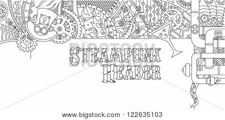 Steampunk outline doodle header design with various steampunk objects and symbols, pilot hat, coctail, gears, tubes poster