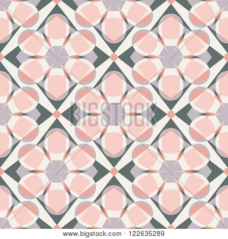 Decorative mosaic seamless pattern. Endless print with pink grey and beige geometric ornaments. Colorful repeating artistic backdrop with stylized flowers. Cloth design covers wallpaper wrapping