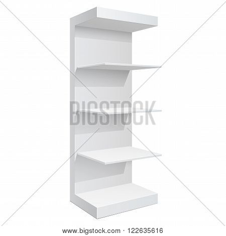 Promotion shelf. Retail Trade Stand Isolated on the white background. Slender white shelves. Mock Up Template. Vector illustration.