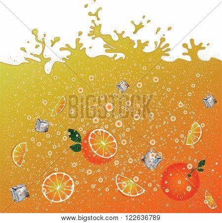 Carbonated orange drink  background. Advertising banner. Ice and oranges. Juice. Orange citrus cocktail. Splashes.