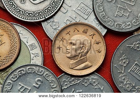 Coins of Taiwan. Taiwan president Chiang Kai-shek depicted in the Taiwan one dollar coin.