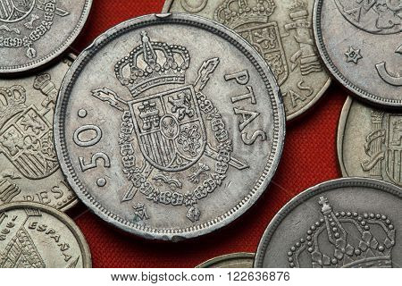 Coins of Spain. Coat of arms of Spain depicted in the Spanish 50 peseta coin (1982).