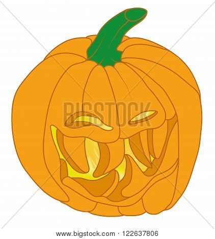 Smiley Malicious Halloween Pumpkin Isolated On White