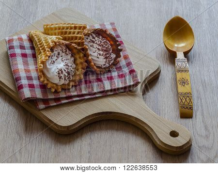 Wrapped in a tubule waffles are very popular in Russia and Belarus.