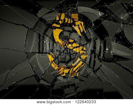 Glass And Golden Us Dollar Symbol Shattered