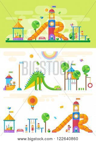 Children's playground with slide, swings, sandbox and other elements. Amusement park for children. Vector flat design illustration