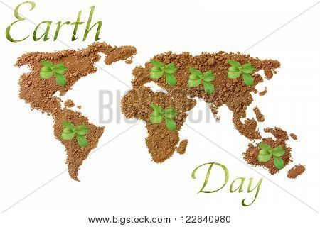 Earth Day. Concept ecology. World map, globe from the soil with green plants around the world isolated on white background