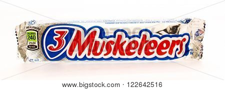 Winneconni WI - 16 June 2015: 3 Musketeers candy bar