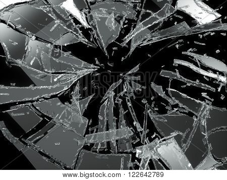 Shattered Or Broken Glass Pieces Isolated