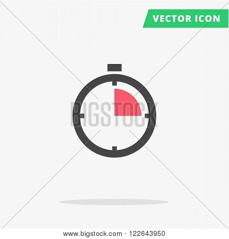 Clock stopwatch icon Vector illustration, flat clock arrows black silhouette stop watch sign speed, simple time icon with color element arrow vector watch image, quickly stopwatch