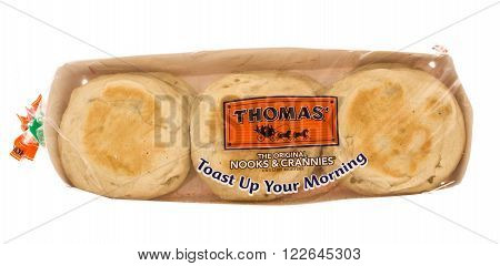 Winneconni, WI - 29 June 2015: Package of Thomas orginal English muffins