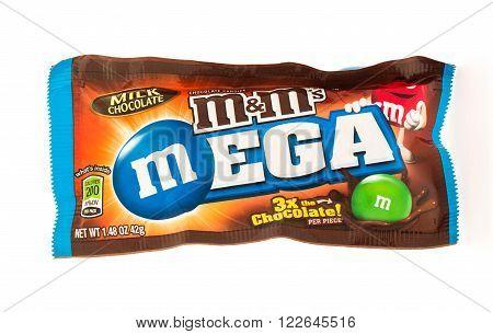 Winneconni WI - 19 June 2015: Mega M&M's chocolate candy
