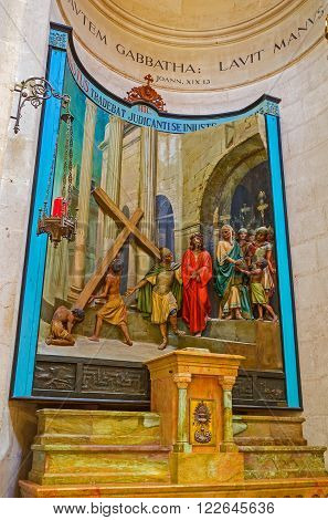 JERUSALEM ISRAEL - FEBRUARY 16 2016: The painted sculpture decoration in Church of Conviction showing the Christ's condemnation on Via Dolorosa on February 16 in Jerusalem.