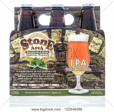 Winneconne WI - 2 Dec 2015: A six pack of Stone Arch I.PA. that is brewed in Appleton Wisconsin.