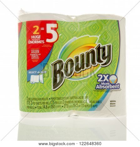 Winneconne WI - 7 Feb 2016: Package of Bounty paper towels.