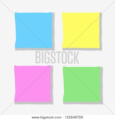 Flat identity mock-up template of Blank Sheets of Colored Paper for Drawing Writting. Material Design Concept idea for writting note memo blanks in web internet print design. Vector Illustration.