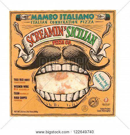 Winneconni WI - 29 June 2015: Box of Scramin' Sicilian pizza in Mambo italiano flavor