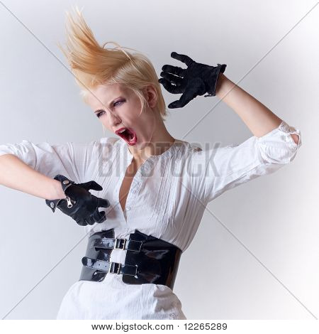 Screaming Punk Blonde Attractive Girl