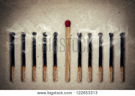 Whole unused match standing middle a row of extinguished burnt matches. Standing out from the crowd leadership concept