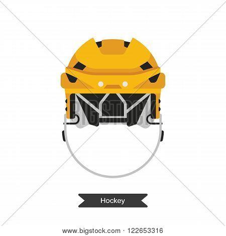 Vector hockey helmet. Isolated hockey helmet on white background. Ice hockey sports equipment. Ice hockey helmet in flat style.
