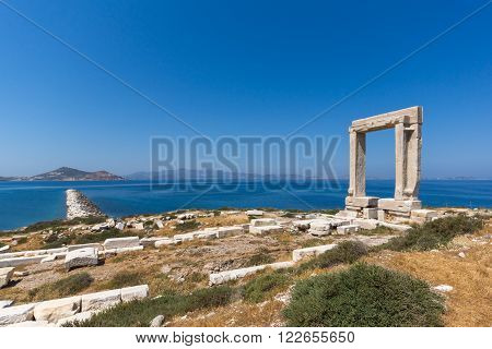 Amazing View of Agean sea and Portara, Apollo Temple Entrance, Naxos Island, Cyclades, Greece