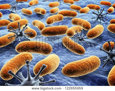 Different pathogen bacteria on the surface.  3d render