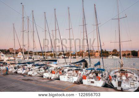 Greece, Rhodes - July 13 Yachts in the harbor Mandraki morning on July 13, 2014 in Rhodes, Greece