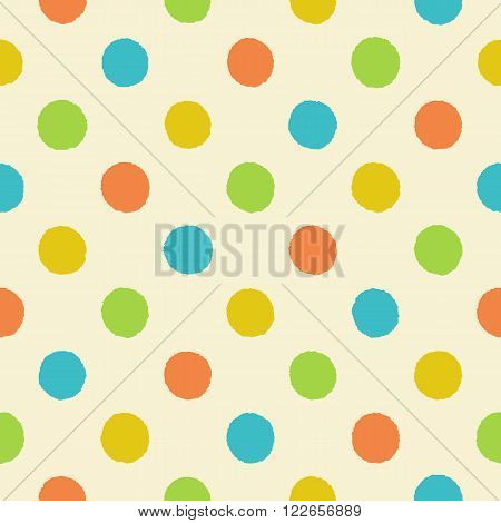 Rough polka dot vector seamless pattern. Seamless retro polka dot pattern with uneven orange yellow green and blue circles on a light beige background vector EPS8.