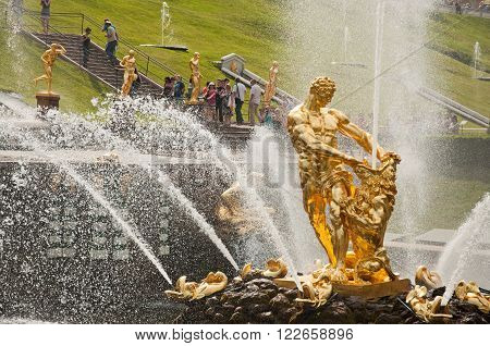 The Samson Fountain, Grand Cascade In Peterhof, St Petersburg, Russia