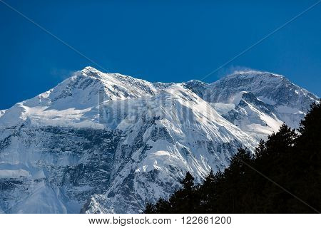 Inspirational Landscape in Himalaya Mountains. Annapurna Himal Range on Annapurna Circuit Trek Beautiful Mountains and Views. Annapurna II North Face 7937m in Nepal Asia