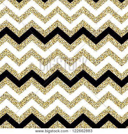 Chevron seamless pattern. Glittering golden surface. Raster version.