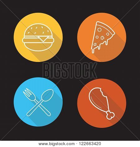 Food flat linear icons set. Hamburger, pizza slice, chicken leg and eatery symbol. Fast food, pizzeria, cafe and restaurant menu items. Long shadow outline logo concepts. Vector line art illustrations
