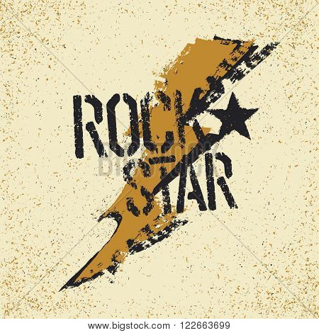 Rockstar. Grunge lettering with thunderbolt symbol. Tee print design template. Raster version.