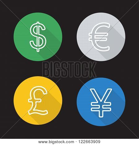 Exchange rates flat linear icons set. Dollar, euro, great britain pound and japanese yen currency symbols. Long shadow outline logo concepts. Vector line art illustrations