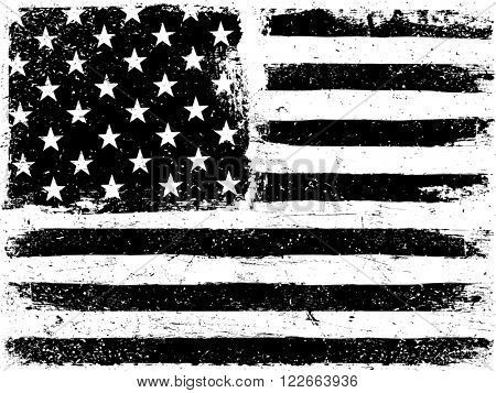 American Flag Background. Grunge Aged Vector Template. Horizontal orientation. Monochrome gamut. Black and white. Raster version.