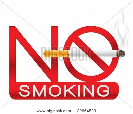 no smoking sign with cigarette and smoke. vector illustration