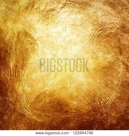 Gold Textured Background. Vector Illustration. Shining Christmas or New Year Backdrop. Golden Sunrays with Lights and Sparkles. Place for Your Text Message. Gold Paint Glowing Texture.
