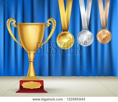 Golden trophy cup and set of medals with ribbons on blue curtain background. Sports competition awards collection. Vector design template