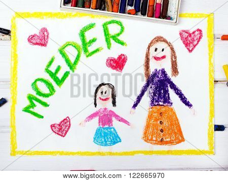 Colorful drawing - Nederlands Mother's Day card with words 'Mother'