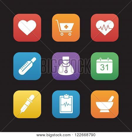 Medical flat design icons set. Hospital cardiology center. Cardiogram, heartbeat and heart symbols. Pharmacy store items. Thermometer, pipette and homeopathy signs. Web application interface. Vector