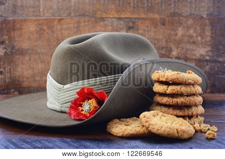 Australian Army Slouch Hat And Anzac Biscuits.