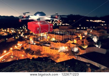red cross drone and night urban background
